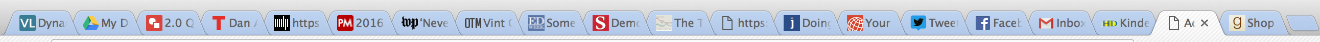 An Image of 20 open tabs on my web browser
