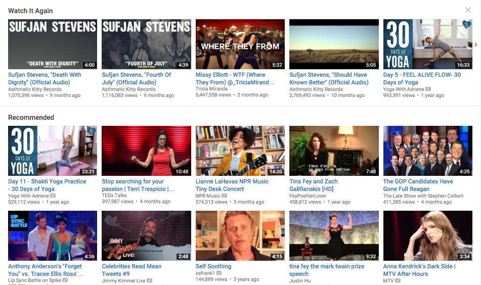 Screenshot of My Youtube Homepage